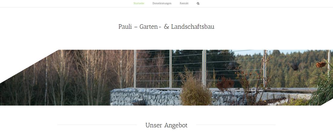 Gestaltung der Website von Garten- und Landschaftsbau Pauli durch woiddesign.