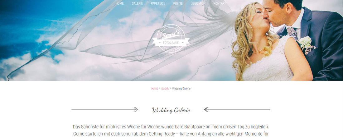 Sara's Fotografie Website gestaltet durch woiddesign.